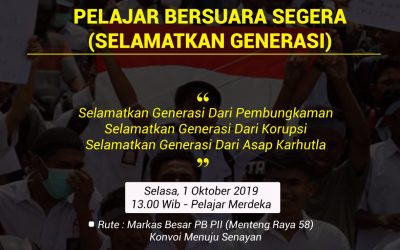 PB PII Menyerukan Aksi SEGERA (Selamatkan Generasi) Pelajar Islam Indonesia